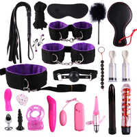 BDSM Sex Handcuffs Whip Dildo Vibrator Sex Toys for Women Anal Plugs Clip Blindfold BDSM Games Products for Women Men Couples