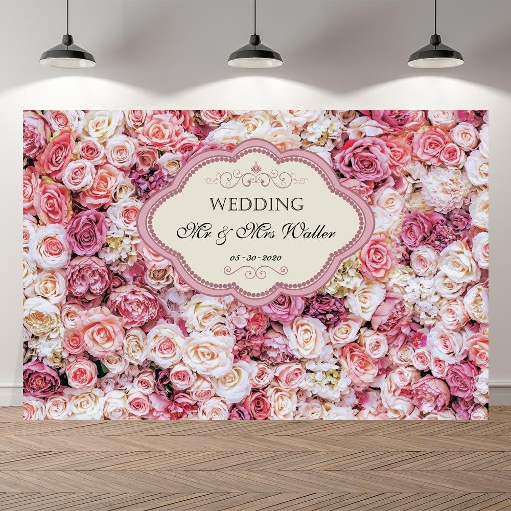 NeoBack – toile de fond florale avec cadre Rose, décoration pour fête d'anniversaire, fête prénatale, cérémonie de Mariage, bannière
