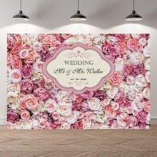 Pink Floral Wedding Ceremony Backdrops Banner Photo Background Birthday Party Banner Welcome Board Custom Bridal Shower Banner