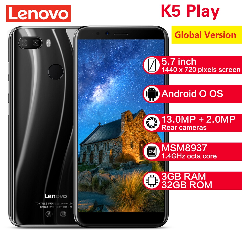 Global Version EU Plug Lenovo K5 Play 4G Android Smartphone 3GB 32GB 5.7'' Snapdragon Octa Core 13MP+2MP Mobile Cellphones
