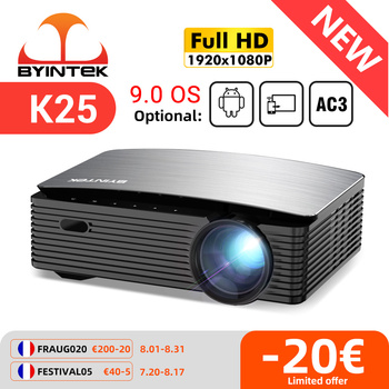BYINTEK K25 Full HD 4K 1920x1080P LCD Smart Android 9.0 Wifi LED Video Cinema Projector 1080P Proyector Beamer for Smartphone 1