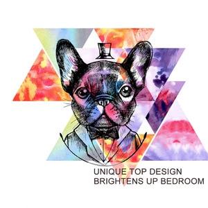 Image 3 - Blessliving Pug Beddengoed Set Aquarel Franse Bulldog Dekbedovertrek Hipster Puppy Hond Bed Set 3 Pieces Geometrische Spreien Koningin