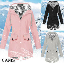 Autumn Warm Women Rain Jacket Outdoor Plus Waterproof Hooded Raincoat Windproof