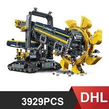 20015 3929 adet elektrikli kova tekerlekli ekskavatör yapı taşı oyuncak 42055