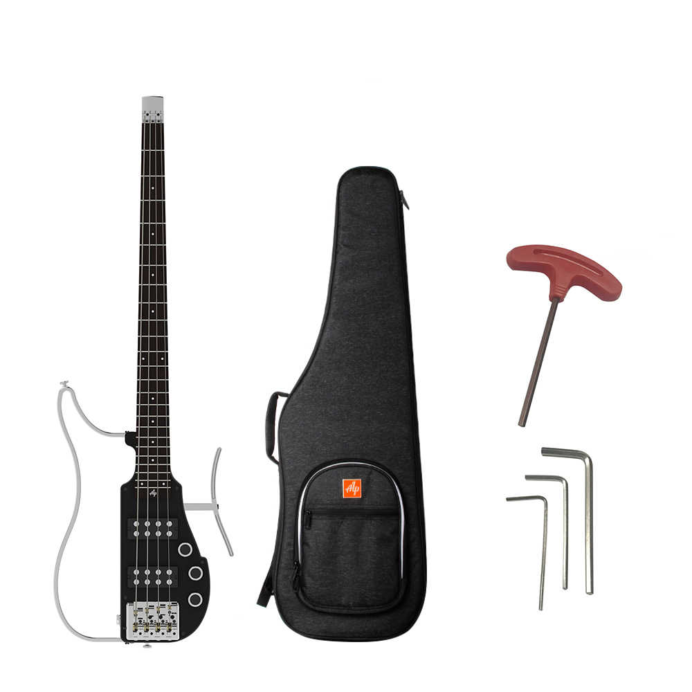 ALP RG-101AX Professional Foldable Headless Travel Electric Bass Guitar Aluminum Alloy Body Maple Neck Rosewood Fingerboard