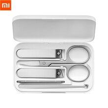 Xiaomi mijia conjunto de cortador de unhas, 5 peças de aço inoxidável, aparador de pedicure, lixa de unha profissional, aparador de beleza