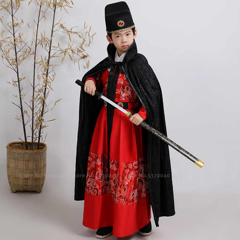 Kinderen Chinese Traditionele Hanfu Jongens Vier Beroemde Vangen Mantel Guard Samurai Knight Cosplay Kostuums Kids Prestaties Outfits