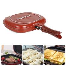 32cm 28cm Double Side Grill Fry Pan Cookware Aluminum Alloy Double Face Pan Steak Fry Pan Kitchen Accessories Cooking Tool