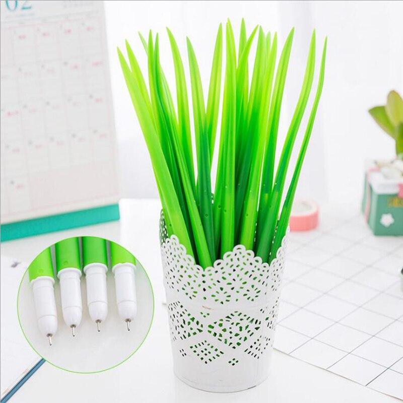 10 PCS Creative Tiny Green Grass Gel Pen Blade Grass Potting Decoration Zakka Stationery Caneta Office Supplies Material School