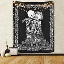 Sevenstars череп гобелен целующиеся влюбленные гобелены черный таро гобелен человеческий гобелен с изображением скелета для комнаты