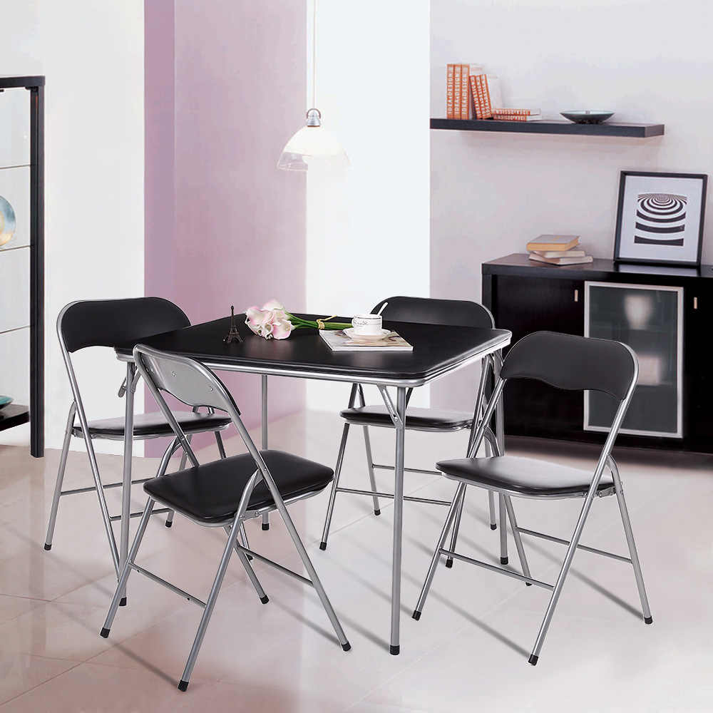 Ikayaa Metal Folding Kitchen Dining Table Chair Set Furniture Outdoor Camping Picnic Table Chairs For Card Majhong Playing Game Dining Room Sets Aliexpress