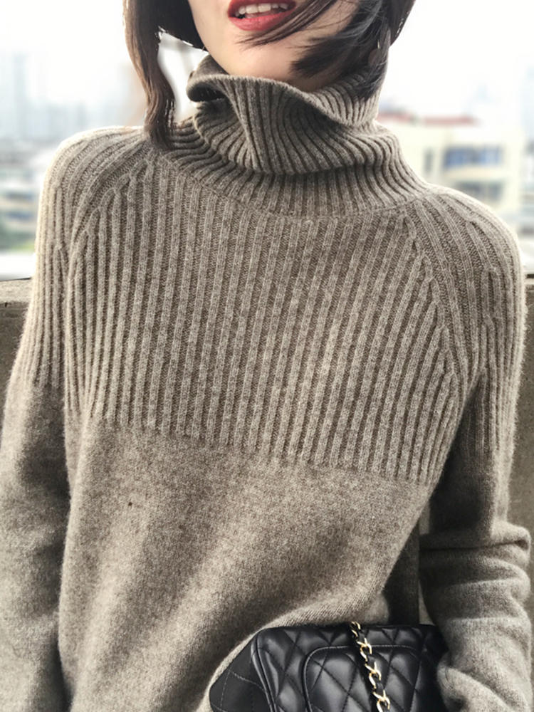 Sweater Women Pullovers Turtleneck Korean-Top Stretch Knit Harajuku Beige Khaki Striped