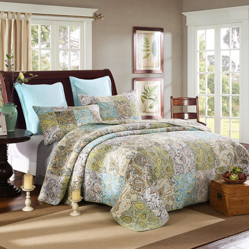1 Pc couvre-lit + 2 pièces taies d'oreiller Court aristocratie couette luxe Satin tissage couvre-lit Cool Patchwork couverture coton maison textile