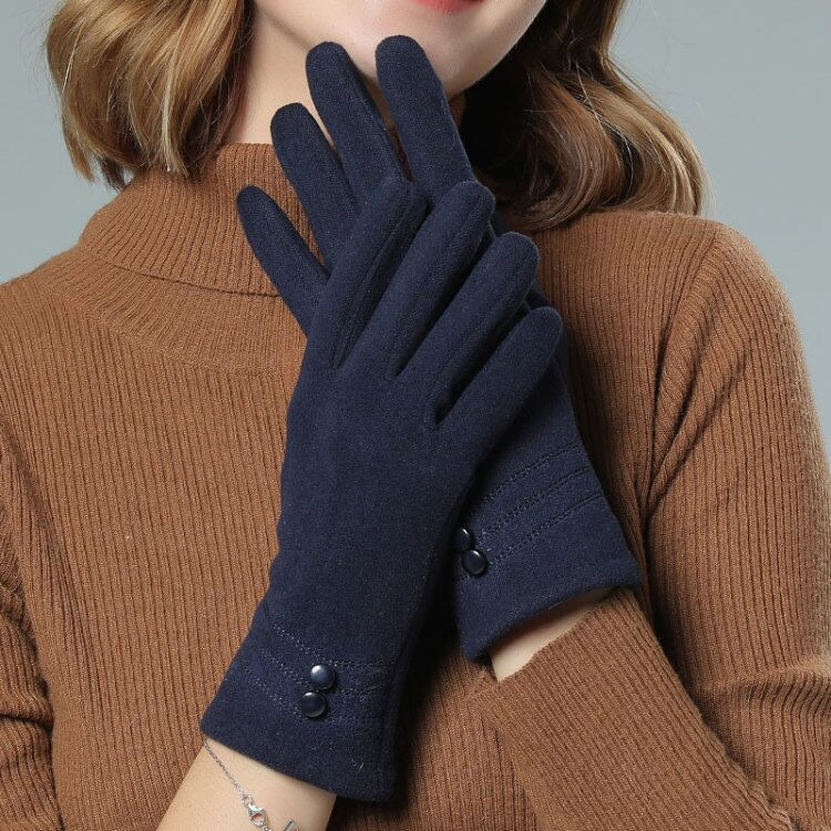 Autumn Winter Velvet Button Gloves Plus Velvet Thicken Riding Touch Screen Mittens Women Keep Warm Glove Accessories Kh