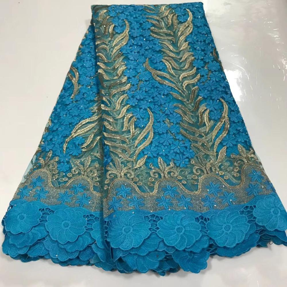 Blue Mesh French Tulle Lace, African Ankara Swiss Voile Lace Fabrics For Wedding Dress 2020 Latest Nigerian Lace Material
