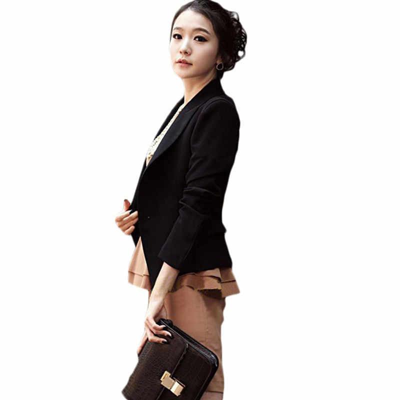 여성 슬림 블레이저 Feminino 2020 새로운 봄, 가을 블랙 컬러 패션 여성 블레 이저 및 재킷 LH893