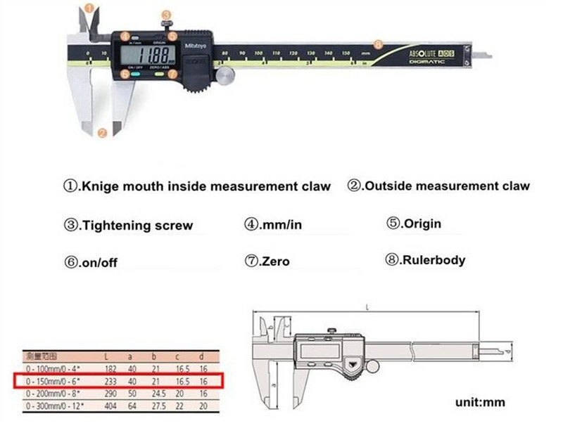 CNC Calipers LCD Electronic Caliper 196 500 Vernier Caliper Tools Steel 150mm 20 Measuring 200mm Mitutoyo Hand Stainless Digital