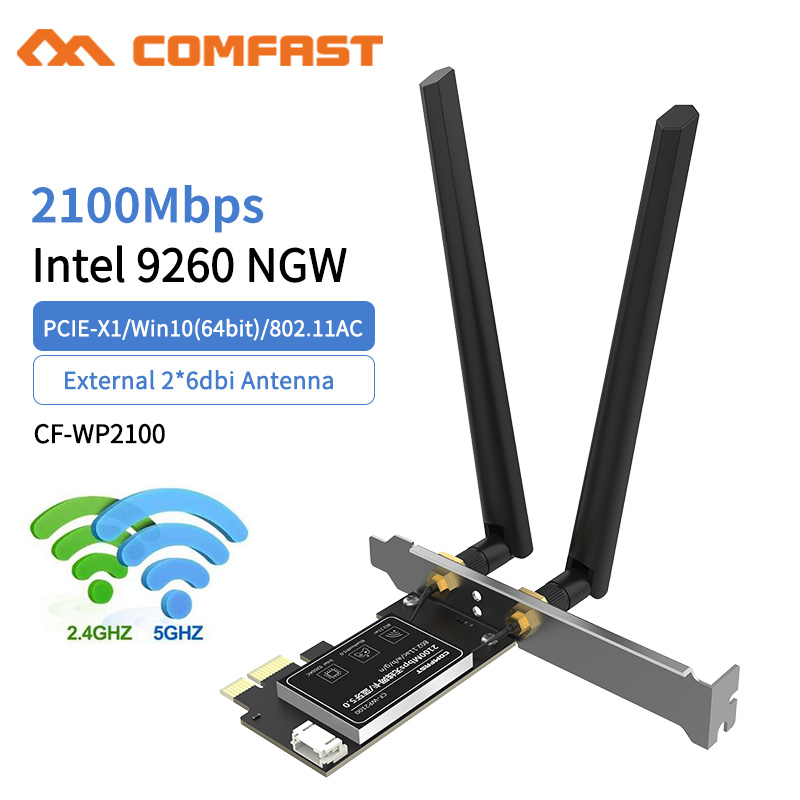 Wireless Dual Band 2100Mbps Gigabit NGFF/PCI Express WiFi Adapter PCI-E Network Card 802.11b/g/n AC 2 Antennas Desktop PC Win10