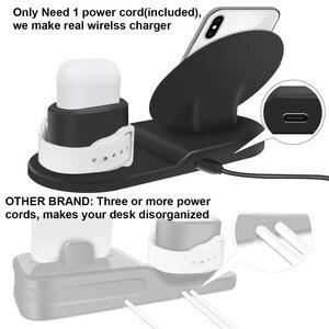 Image 4 - Carregador sem fio, 3 em 1 suporte de carregamento sem fio para apple watch, estação de carregamento para airpods, doca rápida do carregador sem fio (preto)