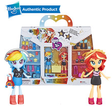 Hasbro 4-Inch My Little Pony Equestria Meisjes Mode Squad Zeldzaamheid Pinkie Pie Rainbow Dash Mini Pop Set met 40 + accessoires(China)