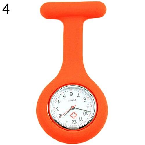 Модные повседневные женские часы Fob, милые силиконовые часы, часы для медсестры, брошь Fob, туника, кварцевые часы с механизмом, медицинские часы, reloj de b - Цвет: orange