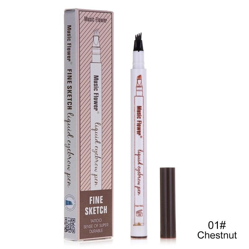 Music Flower Eyebrow Pen Waterproof Eye Brow Pencil Smudge-proof Long Lasting
