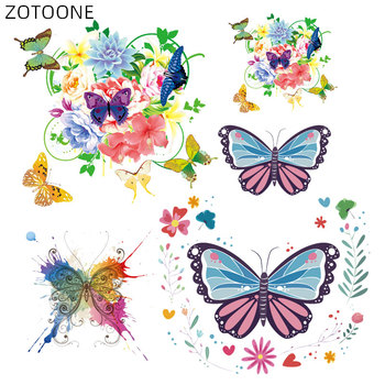 ZOTOONE Flower Butterfly Patches Iron on Stickers for Clothing Heat Transfers DIY Animal Patch for Kids Vinyl Cloth Appliques D image