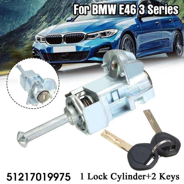 Conjunto esquerdo do tambor do cilindro do fechamento da porta do motorista do carro com 2 chaves para bmw série 3 e46 m3 2001 2006 51217019975