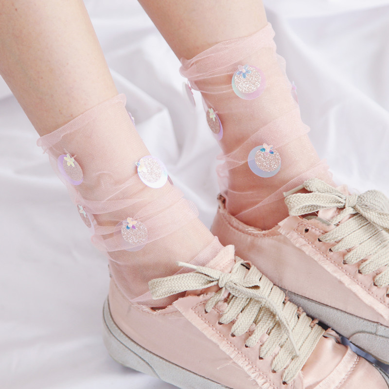 Sequins Women Socks Summer Fashion Multi Color Glitter Thin Mesh Tulle Socks Transparent Ultra Thin Fishnet Hosiery Socks in Socks from Underwear Sleepwears