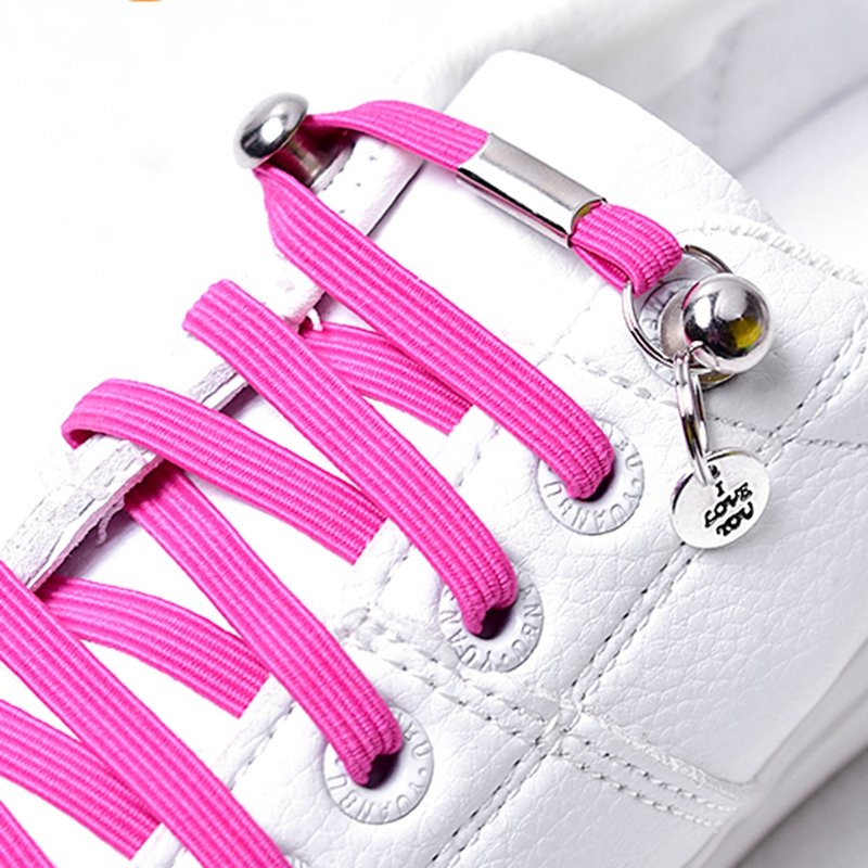 1 Pair No Tie Shoelaces Chidren And Adults Leisure Sneakers Flat Shoelace One Hand Quick Metal Locking Lazy Laces Unisex