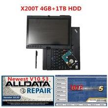Software de reparação alldata v10.53 e m .. chell 2015 software 1tb instalado no portátil da tela de toque x200t com 4gb dhl frete grátis
