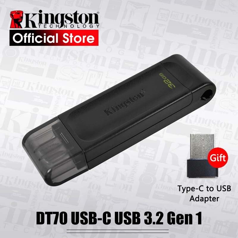 Kingston-lecteur Flash DT70 USB C, 32 go, 64 go, 128 go, clé USB 3.2 Gen 1, clé stylo type-c, pour ordinateurs, tablettes et smartphones