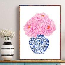 Голубая и белая китайская ваза настенные художественные плакаты