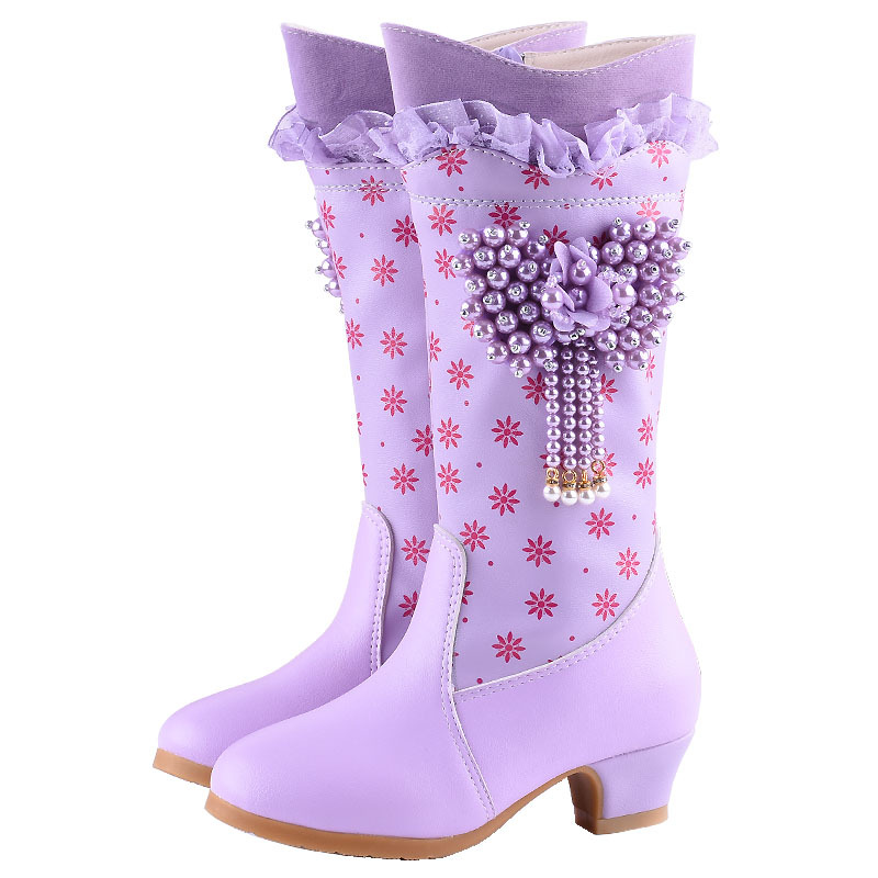 Girls Boots Kids Knee high Leather