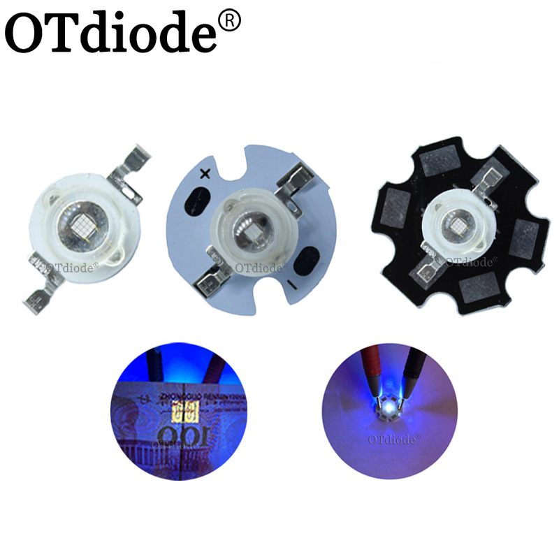 10pcs 3W High Power <font><b>LED</b></font> <font><b>UV</b></font> Light Chip <font><b>diode</b></font> 395nm 400nm 365nm 370nm Purple Ultra Violet for <font><b>Nail</b></font> Dryer Currency Identification image