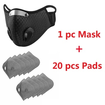 1 Set Face Mouth Mask with 20 pcs Disposable Pads Men Washable Breathable Health Masks for Outdoor Cycling Running