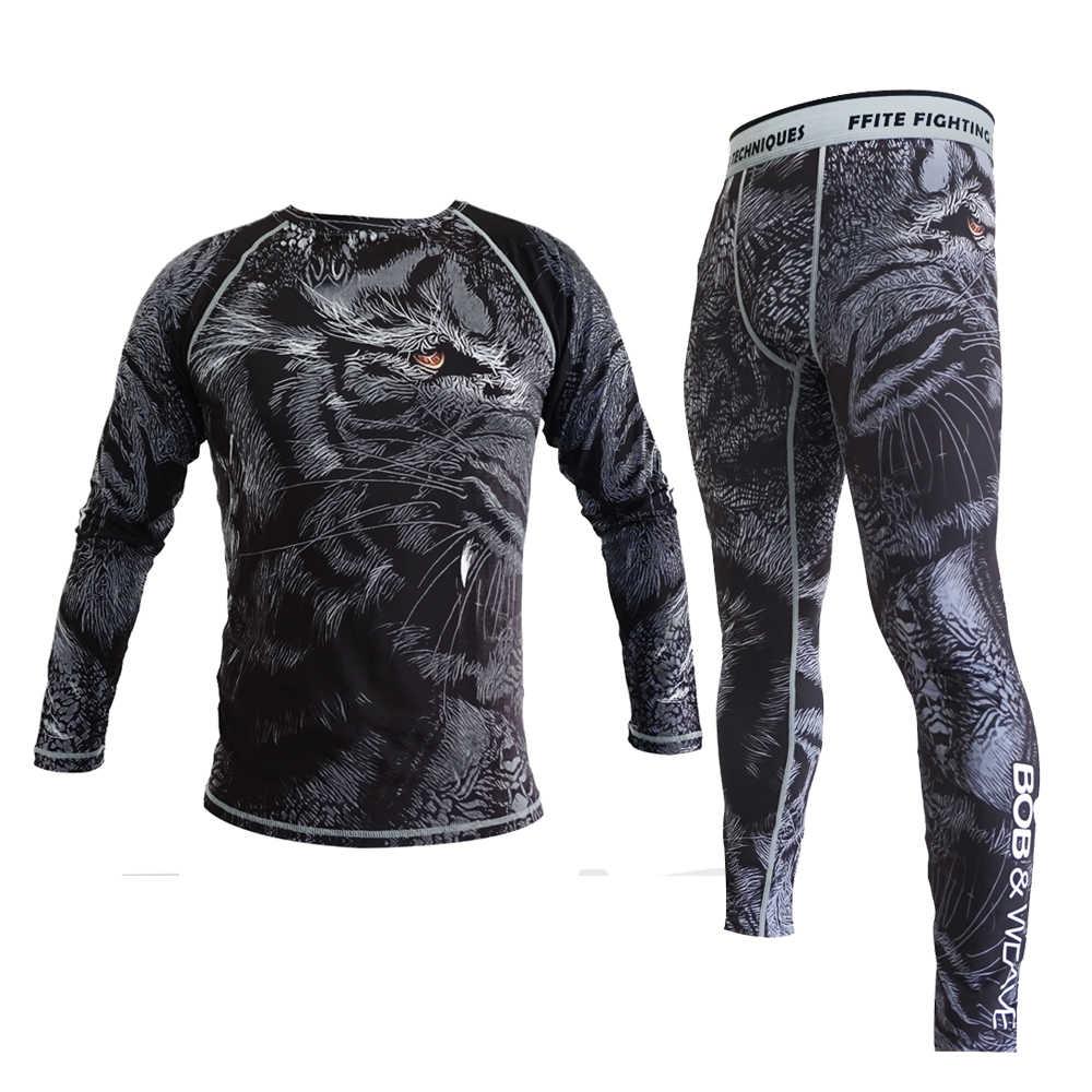 Calças De Compressão De Boxe MMA Rashguard homens Calças De Fitness mma muay thai luta Apertada Camisa