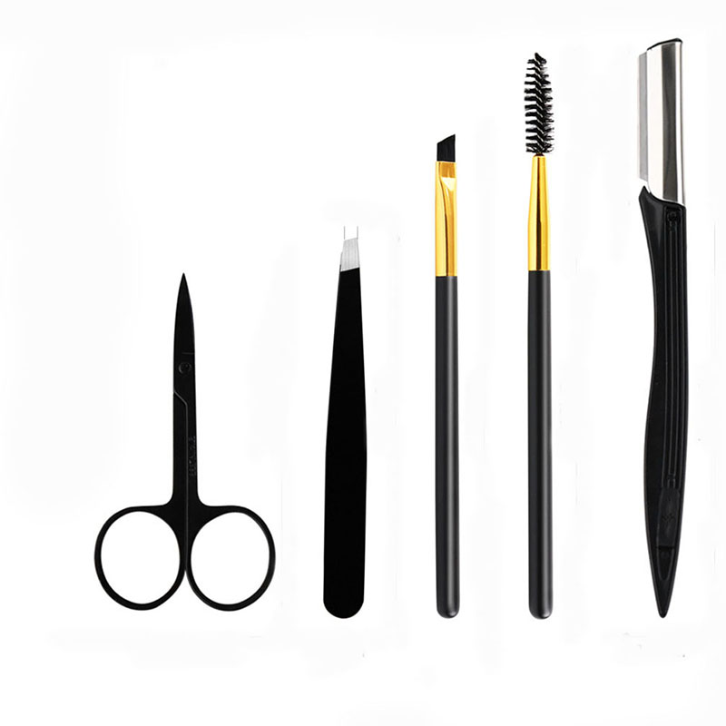 Black Eyebrows Clip Eyebrow Trimmer Scissors Eyebrow Shaping Knife Cosmetic Beautiful Makeup Tools 5 Pcs/Set New Accessories