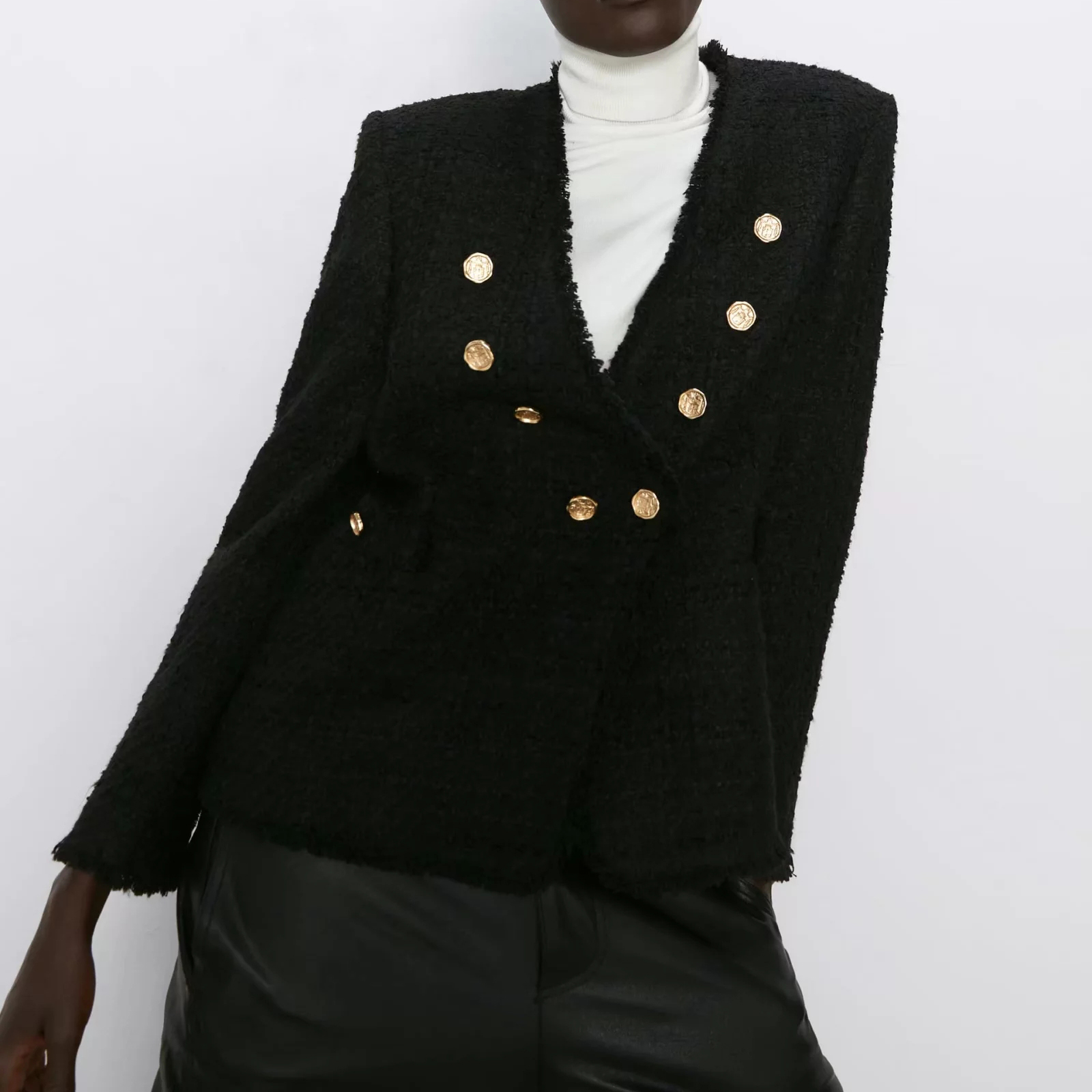 2019 Autumn Women's Suit  Casual Vintage Chic Coat Tweed Jacket Female Double Button Wool Blazer Outerwear Women ZA Style