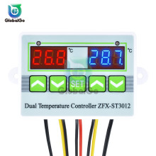 ST3012 Intelligent Thermostat Temperature Controller Switch LED Digital Dual Thermometer NTC 10K Sensor 220V 24V 12V
