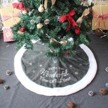 90 см флис Рождественская елка юбка вышивка короткий бархатный ковер коврик Рождественская елка коврик для ног для дома год