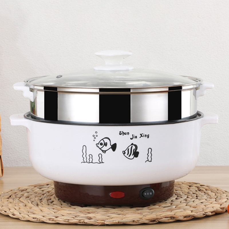 Multifunctional Electric Cooker 220V Heating Pan Electric Cooking Pot Machine Hotpot Noodles Eggs Soup Steamer Mini Rice Cooker