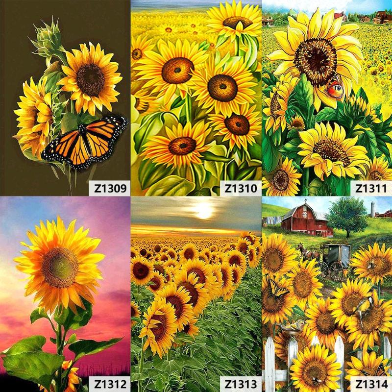 5D Diamond Painting Kits Full Drill Embroidery Sunflower Art Crafts Tools