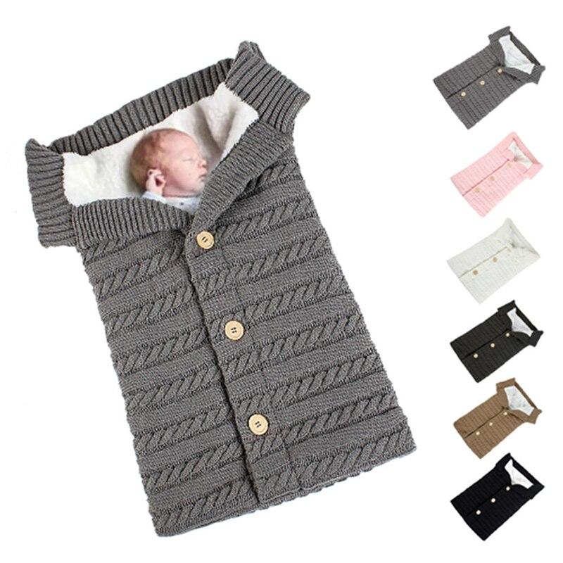 Newborn Swaddle Wrap Sleepsacks Warm Baby Blanket Soft Baby Sleeping Bag Footmuff Cotton Knitting Envelope Stroller Accessories