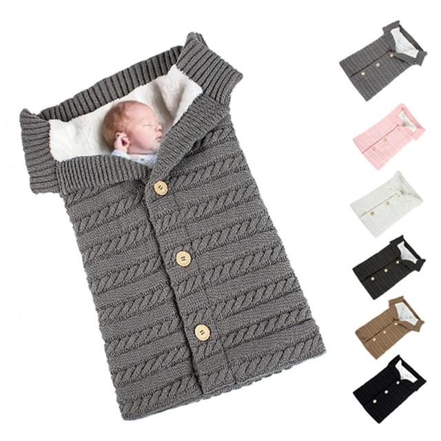 Warm Baby Blanket Soft Baby Sleeping Bag Footmuff Cotton Knitting Envelope Newborn Swaddle Wrap Sleepsacks Stroller Accessories 4
