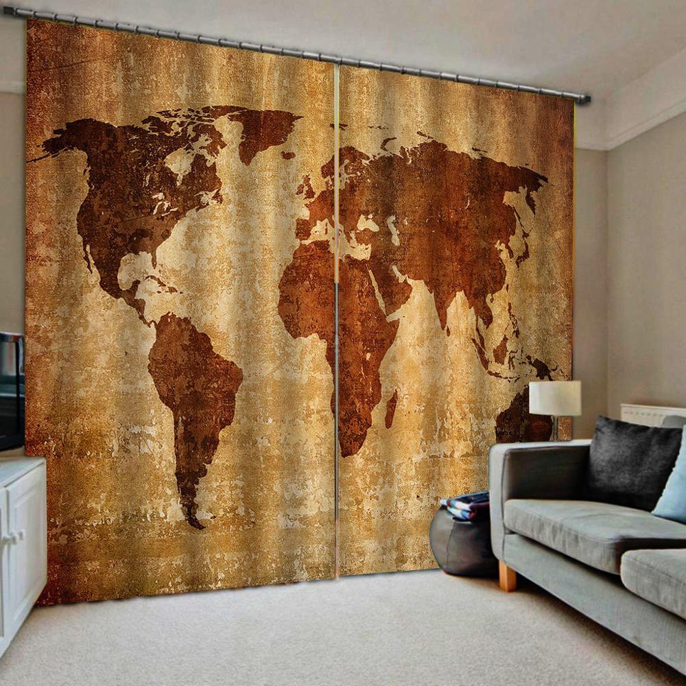 Personnaliser décor à la maison rustique 3D rideaux carte décor de chambre pour toute fenêtre de rideaux de chambre