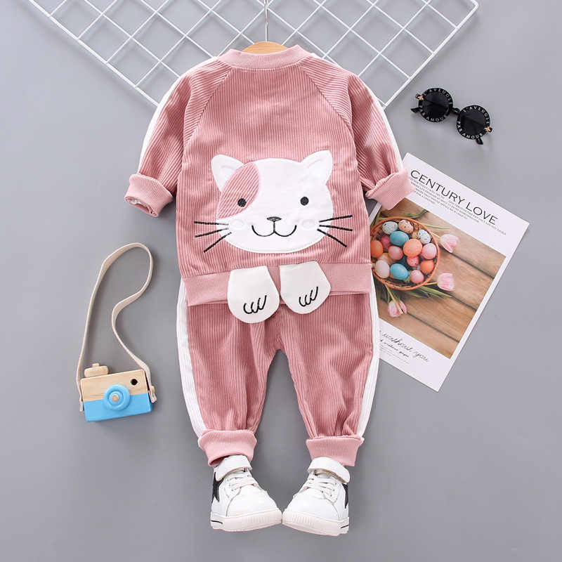 BibiCola, conjunto de ropa para bebés y niñas, nueva ropa para niños, traje para niñas, caspring Otoño, tops de algodón, abrigo + Pantalones, 2 uds, conjunto bonito para niños
