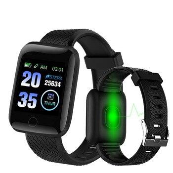 Reloj inteligente D13 116 Plus, pulsera inteligente deportiva con control del ritmo cardíaco, pulsera inteligente a prueba de agua para Android iOS