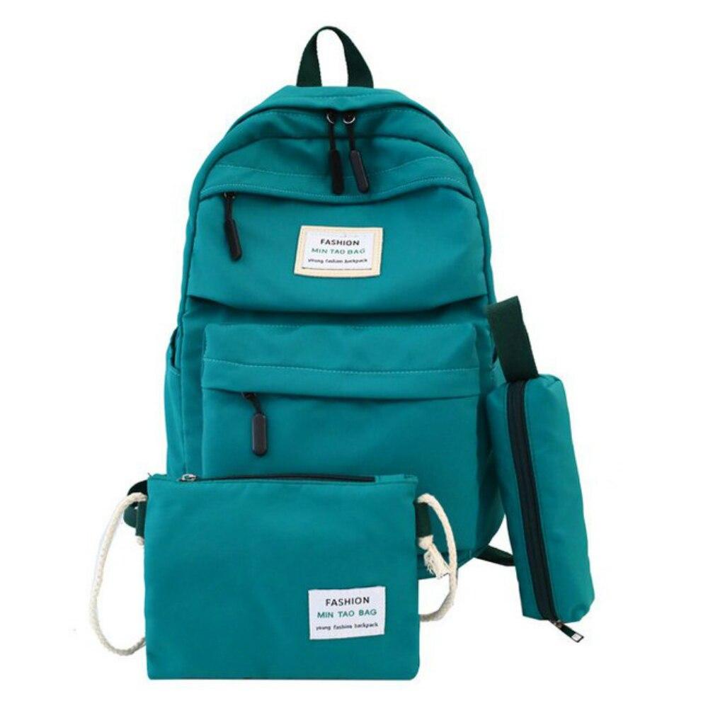 Nylon Women Backpack Large Capacity Student School Bag For Teenage Girl Solid Color Ladies' Travel Shoulder Bag Bagpack Rucksack