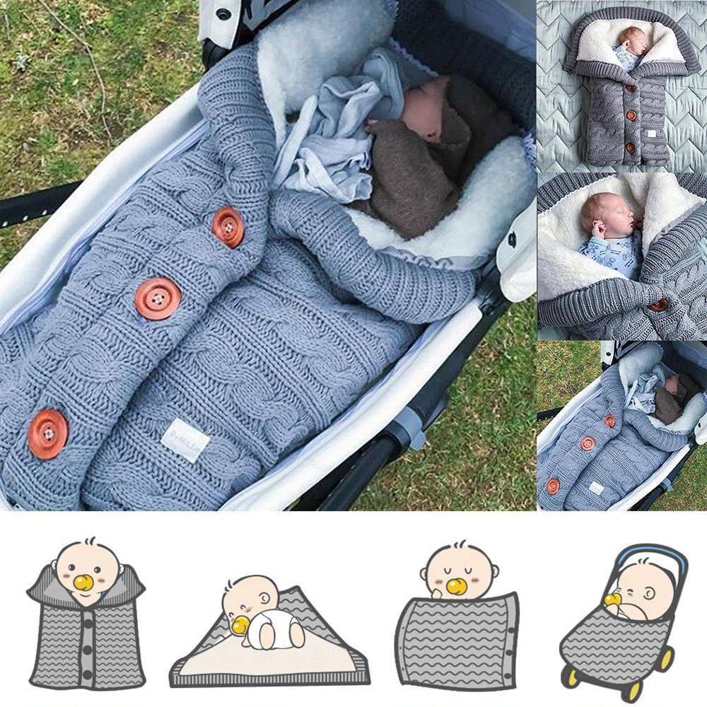 Baby Swaddling Stroller Wrap Toddler Blanket Sleeping Bags Newborn Warm Sleeping Bags Infant Button Knit Swaddle Wrap For Winter
